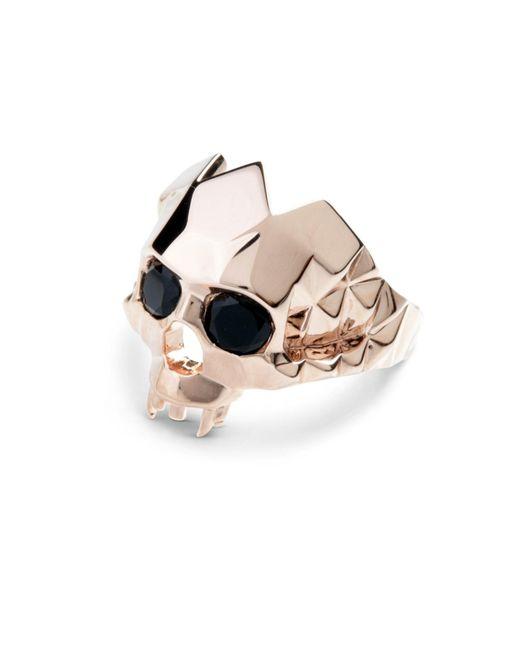 Kasun | Metallic Vampire Skull Ring Rose Gold | Lyst