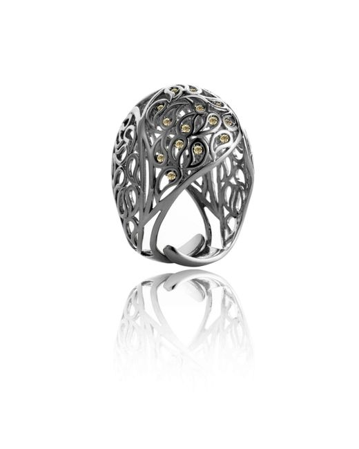 Sonal Bhaskaran | Multicolor Shikhara Ruthenium Dome Ring Yellow Cz | Lyst