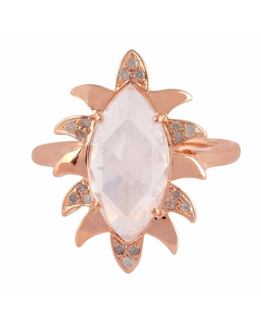 Meghna Jewels   Pink Claw Marquise Ring Moonstone & Diamonds   Lyst