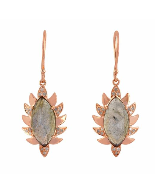 Meghna Jewels | Multicolor Claw Single Drop Marquise Earring Labradorite & Diamonds | Lyst