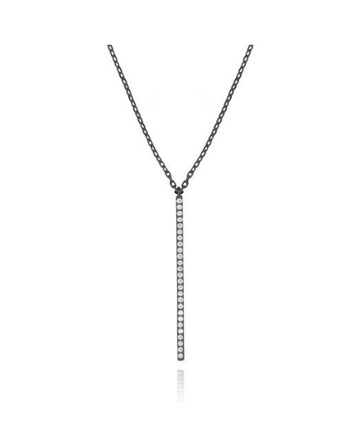 Astrid & Miyu - Black Hold On Big Bar Necklace In Gunmetal - Lyst