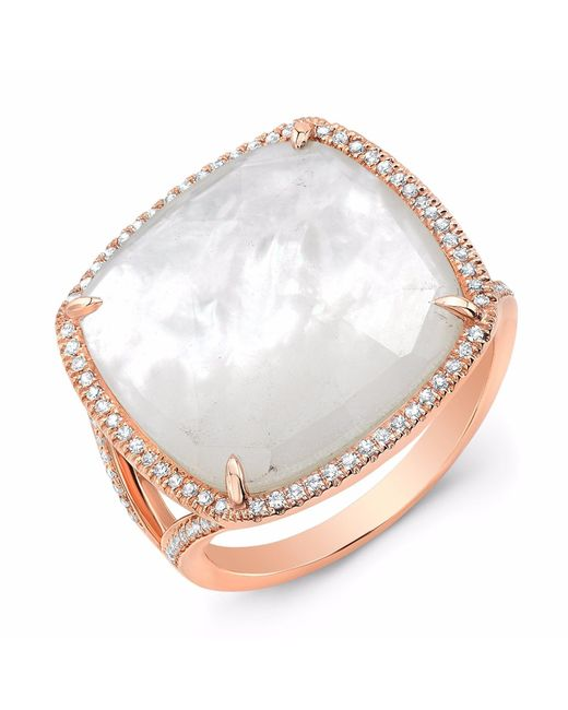 Anne Sisteron | Metallic Rose Gold Mother Of Pearl Diamond Doublet Ring | Lyst