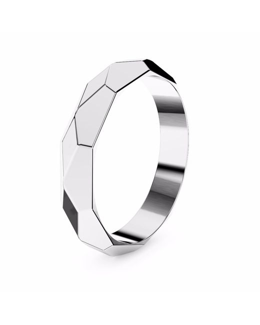 MARCELLO RICCIO | Faceted White Gold Plated Ring | Lyst