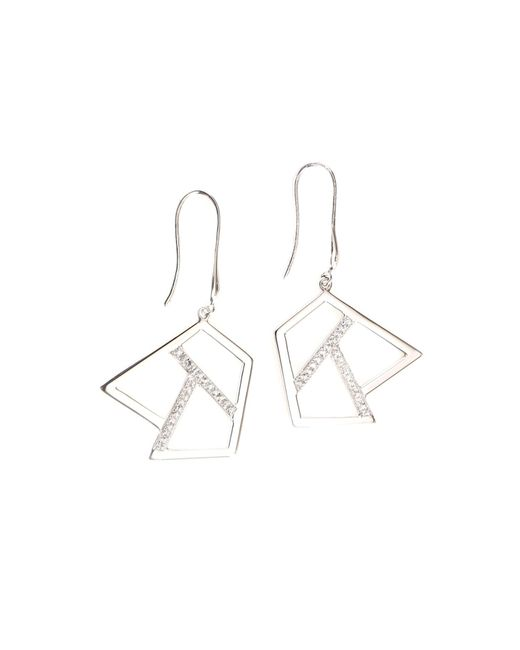 Ona Chan | Metallic Drop Earring With Sapphire Silver | Lyst