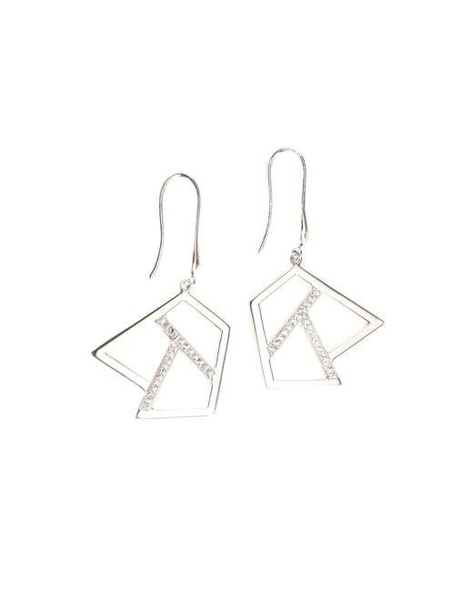Ona Chan | Metallic Drop Earring With Sapphire Silver | Lyst
