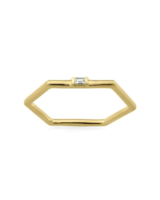 Monarc Jewellery - Metallic The Baguette Hexi Stacker Ring 9ct Gold And Diamond - Lyst