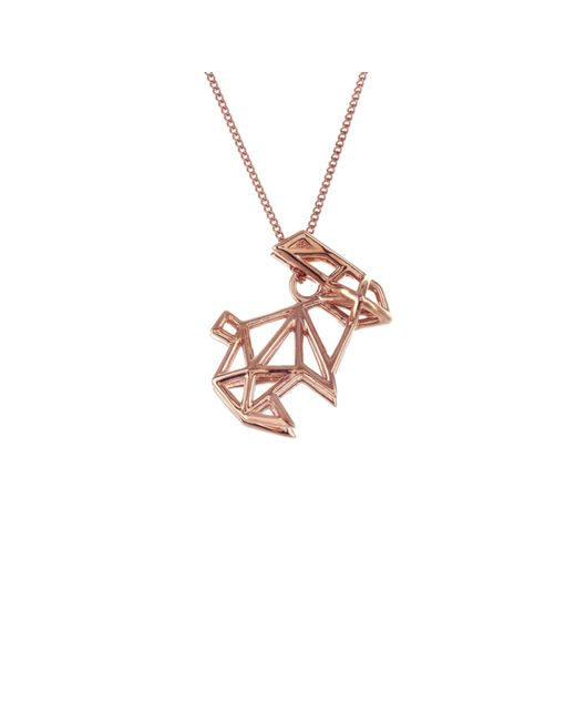 Origami Jewellery | Metallic Frame Rabbit Necklace Rose Gold | Lyst