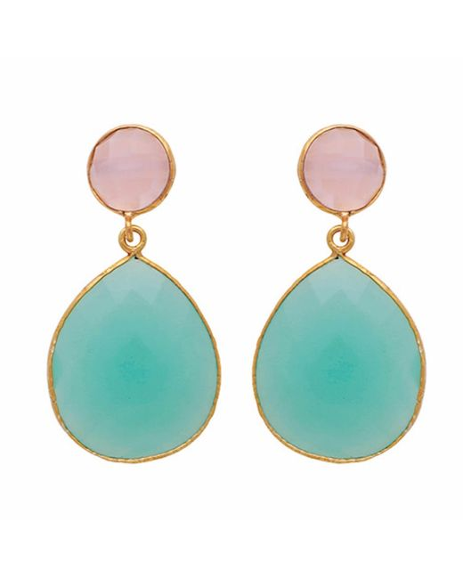 Carousel Jewels | Multicolor Rose Quartz & Aqua Chalcedony Double Drop Earrings | Lyst