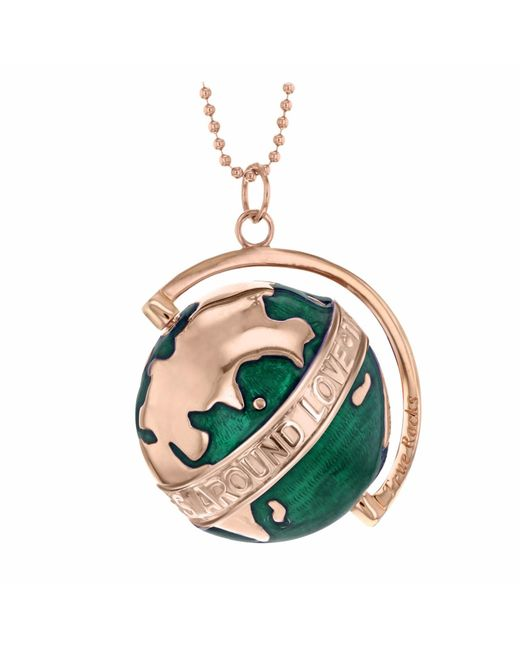 True Rocks | Large Globe Necklace Rose Gold & Green Enamel | Lyst