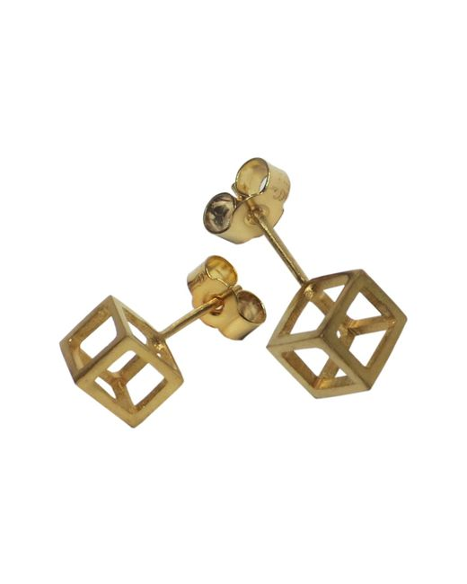 Stephanie Bates | Metallic Mini Gold Plated Cube Studs | Lyst