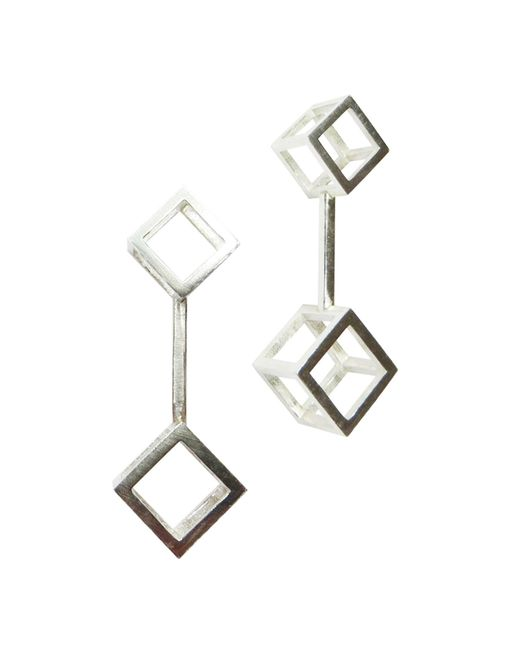 Stephanie Bates | Metallic Silver Double Cube Drop Earrings | Lyst