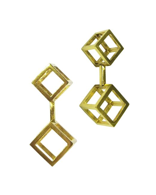 Stephanie Bates | Metallic Gold Double Cube Drop Earrings | Lyst