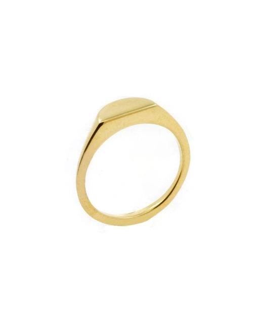 No 13   Metallic Half Circle Signet Ring Gold   Lyst