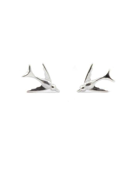 Lee Renee | Metallic Tiny Swallow Stud Earrings Silver | Lyst