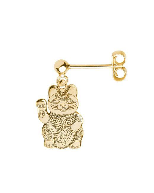 CarterGore - Metallic Gold Lucky Cat Single Short Drop Earring - Lyst