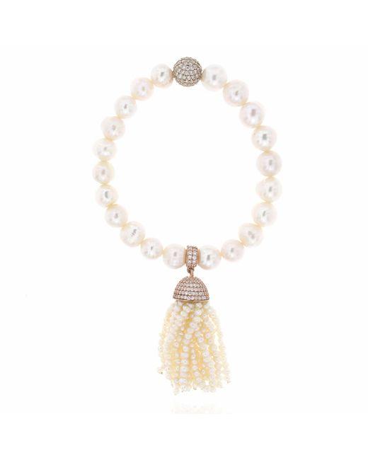 Cosanuova - Metallic Pearl Tassel Bracelet - Lyst