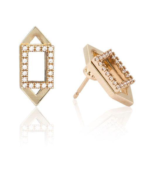 Astrid & Miyu | Metallic Rectangle Ear Jacket In Gold | Lyst