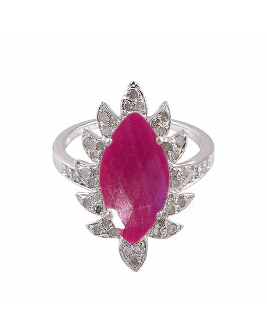 Meghna Jewels | Multicolor Claw Marquise Ring Ruby & Diamonds | Lyst