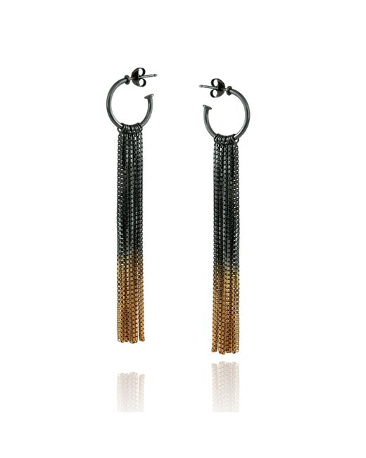 Cara Tonkin | Black Vesper Hoop Earring Oxidised Silver & Gold | Lyst