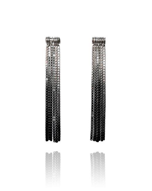 Cara Tonkin | Black Vesper Tube Link Earring Oxidised Silver | Lyst