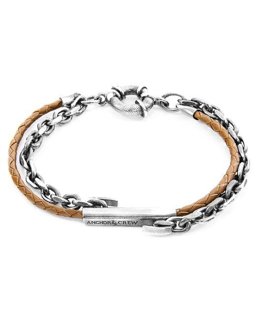 Anchor & Crew - Light Brown Belfast Silver & Braided Leather Bracelet for Men - Lyst