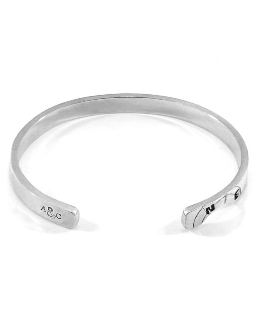 Anchor & Crew - Metallic Russell Compass Cutout Silver Bangle for Men - Lyst
