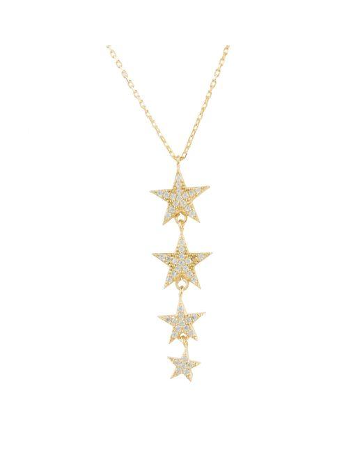 Latelita - Metallic Graduated Star Drop Necklace Gold - Lyst