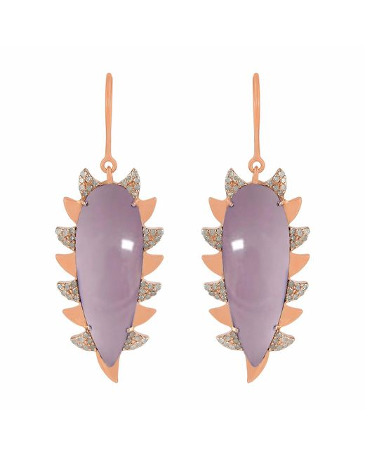 Meghna Jewels - Pink Claw Drop Earrings Rose Quartz Alt - Lyst