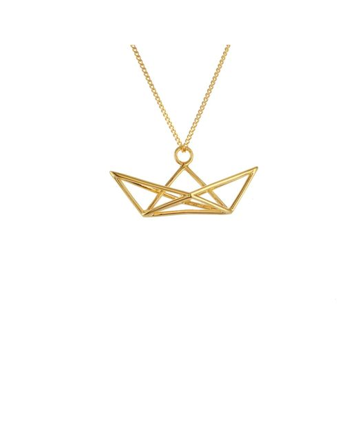 Origami Jewellery - Metallic Frame Boat Necklace Gold - Lyst