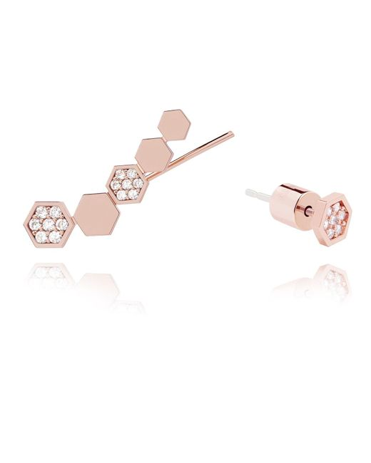 Astrid & Miyu | Pink Black Magic Hexagon Earrings Rose Gold | Lyst