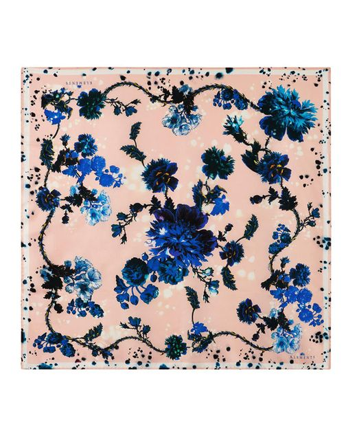 Klements - Blue Square Scarf In Gothic Floral Print - Lyst