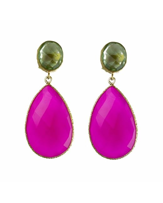 Carousel Jewels - Multicolor Double Drop Peridot & Fuchsia Chalcedony Earrings - Lyst