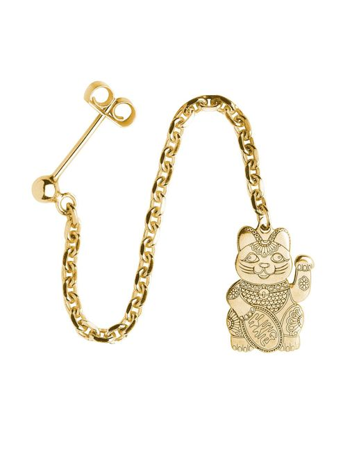 CarterGore - Metallic Gold Lucky Cat Single Long Drop Earring - Lyst