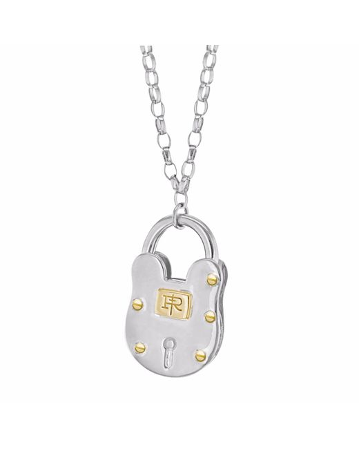True Rocks - Metallic Large Two Tone Silver And Gold Vintage Style Padlock Pendant - Lyst