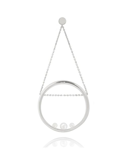 Astrid & Miyu - Pearl Spiral Swing Earring In White Gold - Lyst