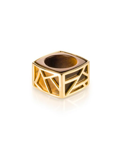 Ona Chan Jewelry | Metallic Square Cocktail Ring Tiger's Eye | Lyst