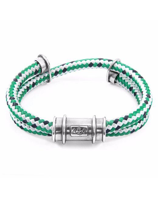 Anchor & Crew - Green Dash Larne Silver & Rope Bracelet for Men - Lyst