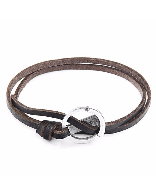 Anchor & Crew | Metallic Dark Brown Ketch Silver & Leather Bracelet for Men | Lyst
