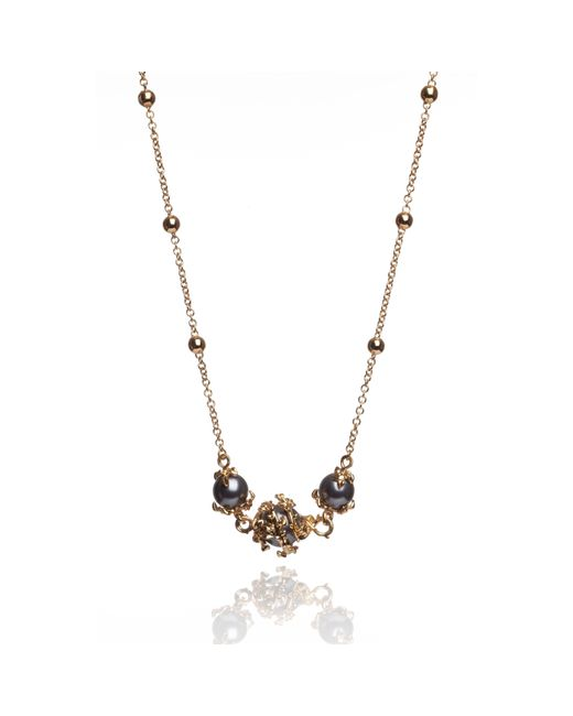 Kasun | Metallic Three Dark Grey Pearls Necklace | Lyst