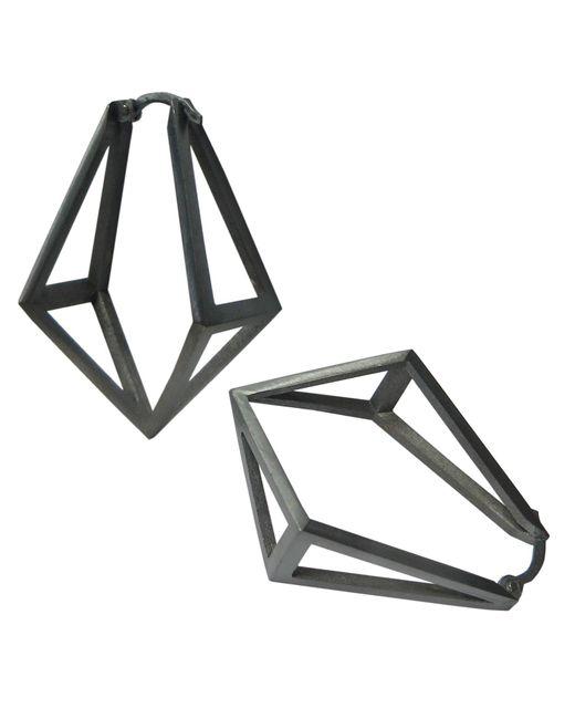 Stephanie Bates   Black Oxidised Silver Kite Hoop Earrings   Lyst