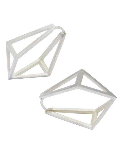 Stephanie Bates | Metallic Silver Kite Hoop Earrings | Lyst