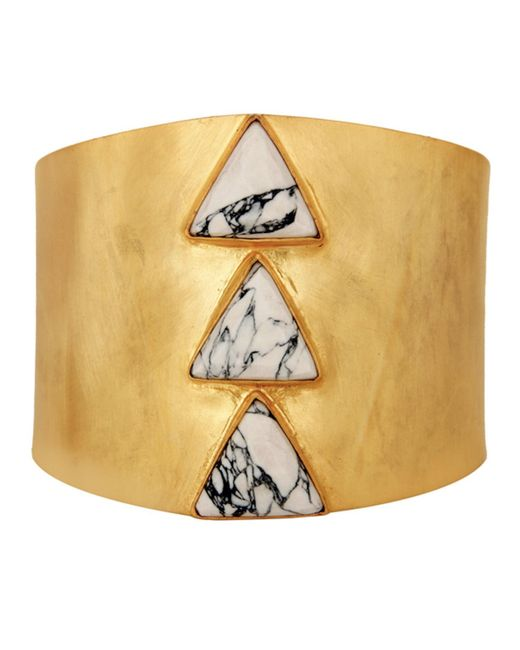 Carousel Jewels | Metallic Adjustable Gold Cuff With Howlite Triangles | Lyst