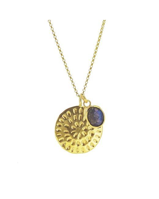 Yvonne Henderson Jewellery - Metallic Moroccan Inspired Large Organic Disc Pendant With Labradorite Charm Long Chain Gold - Lyst