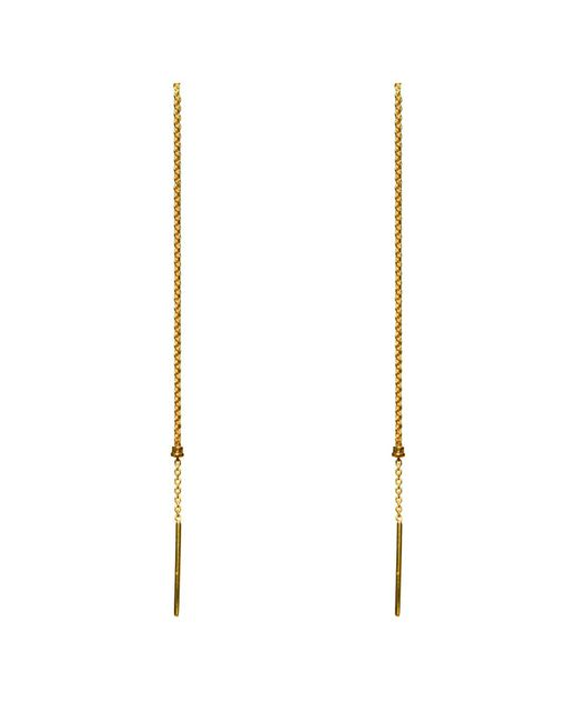 Dutch Basics | Metallic Cylinder Drop Chain Earrings Gold | Lyst