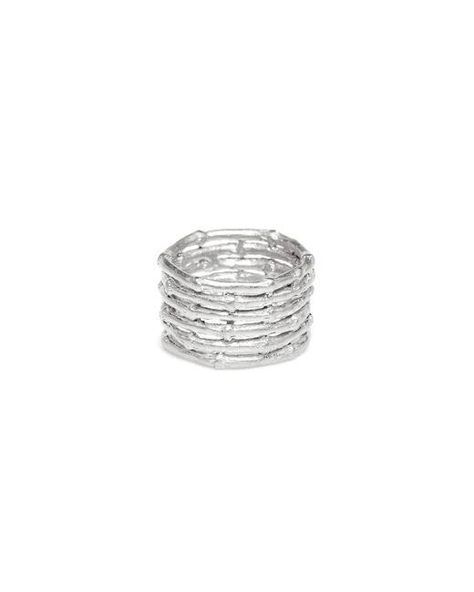 Yucama - Metallic Bamboo Stacked Ring Silver - Lyst