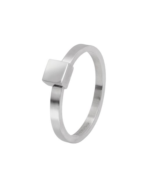Edge Only | Metallic Square Stacking Ring Silver | Lyst