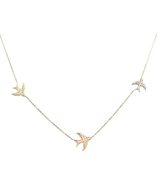 Talia Naomi | Metallic Fly Me To The Moon Pavé Necklace Gold | Lyst