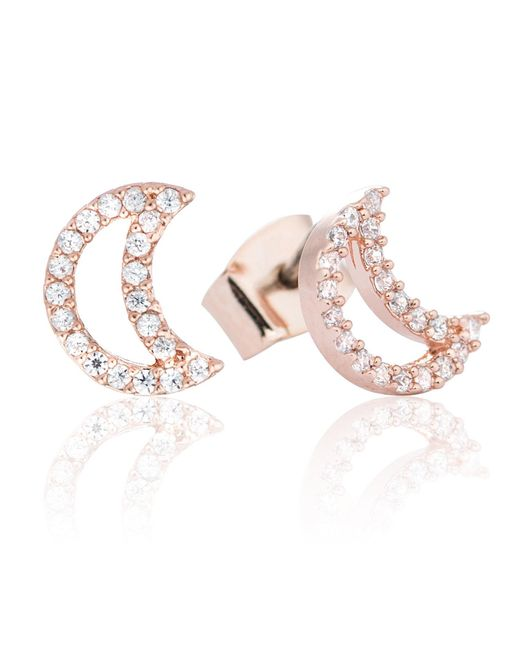 Astrid & Miyu | Metallic Tricks Moon Stud Earrings Rose Gold | Lyst