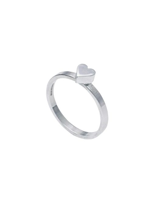 Edge Only   Metallic Heart Stacking Ring Silver   Lyst