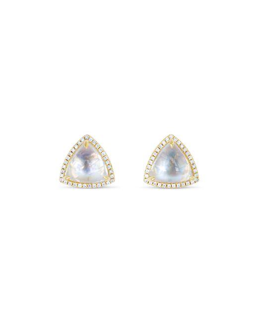 Ri Noor - Metallic Trillion Moonstone & Diamond Stud Earrings - Lyst